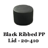 Black Ribbed PP Lid w/ PE liner 20-410